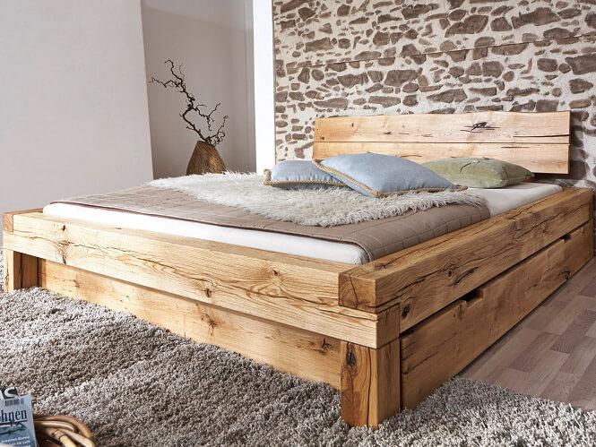 מיטה זוגית מעץ אלון