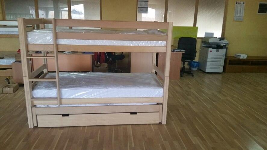 מיטת קומותיים לני מעץ עם ארגז ומיטת חבר