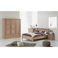 oak wood bed and room