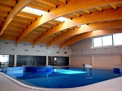 solid pine wood beams in a pool