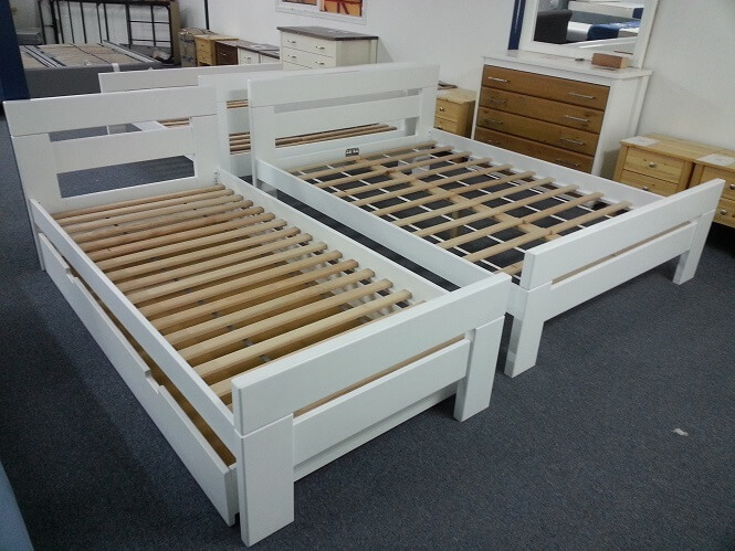 solid wood double and single beech bed