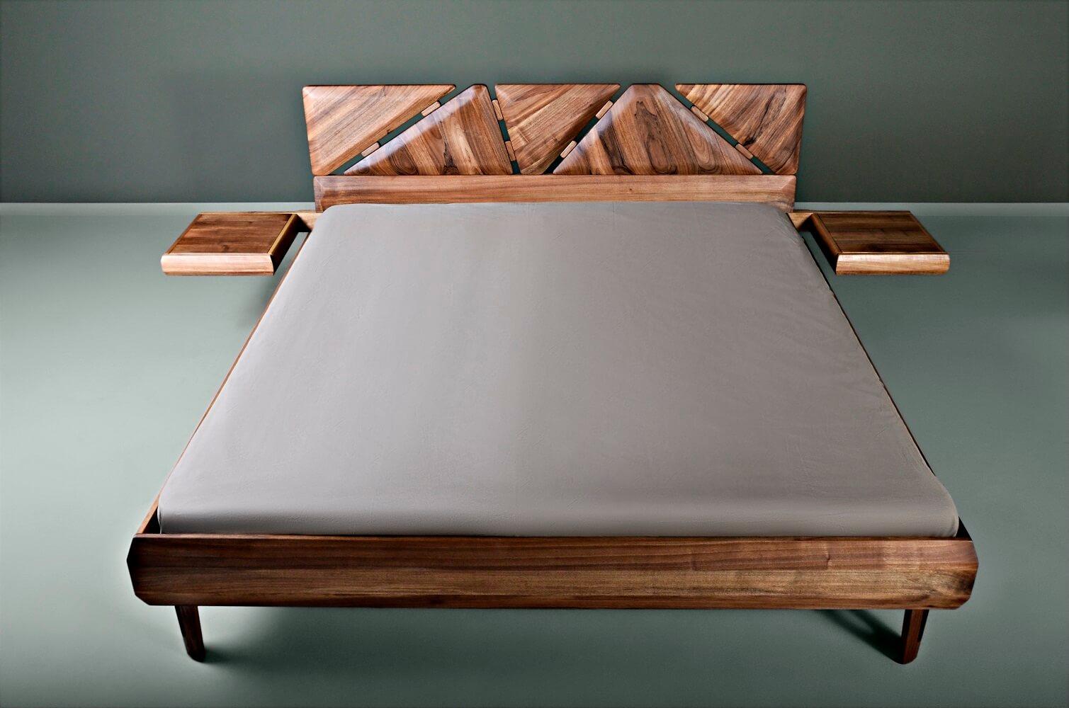 מיטה זוגית מעץ אגוז - Mista