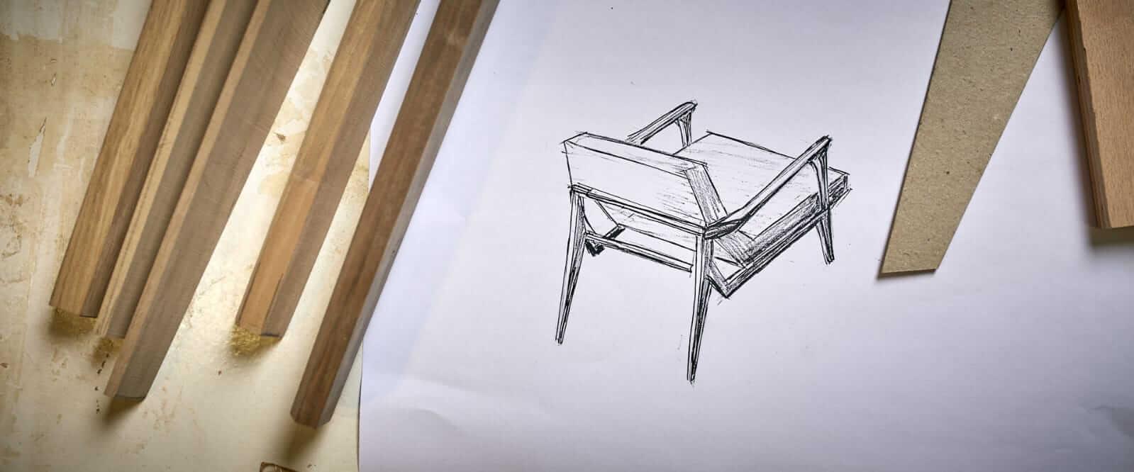 עיצוב של כסא אגוז