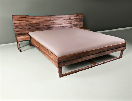 Solid walnut double bed