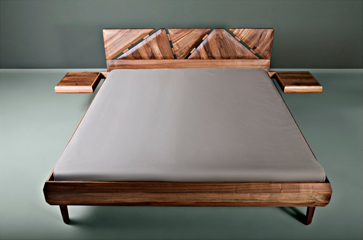 walnut king bed frame - Mista