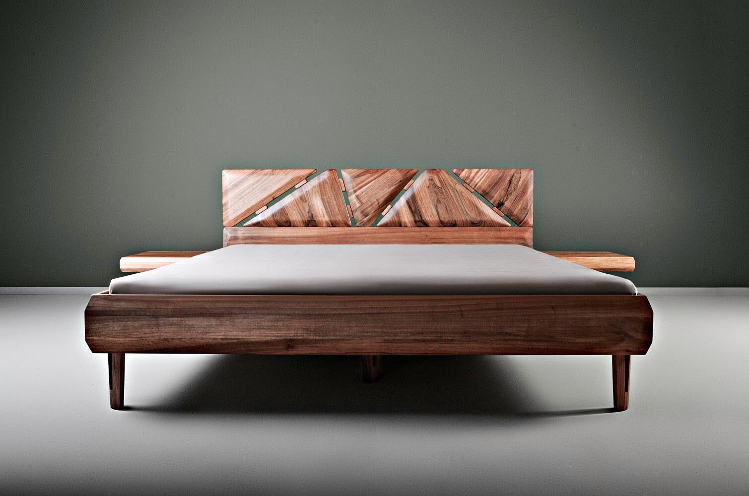 walnut king size bed - Mista