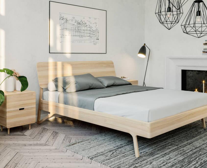 מיטה מעץ אלון בעיצוב מינימליסטי