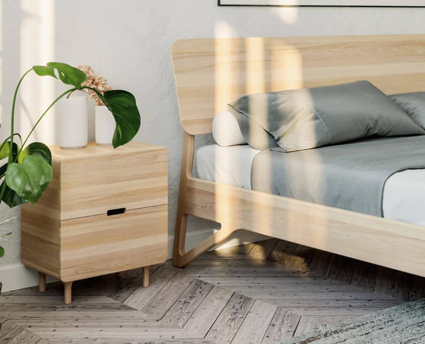 מיטת אלון בסגנון נורדי