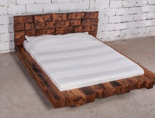 מיטה זוגית מעץ אלון דגם להבה